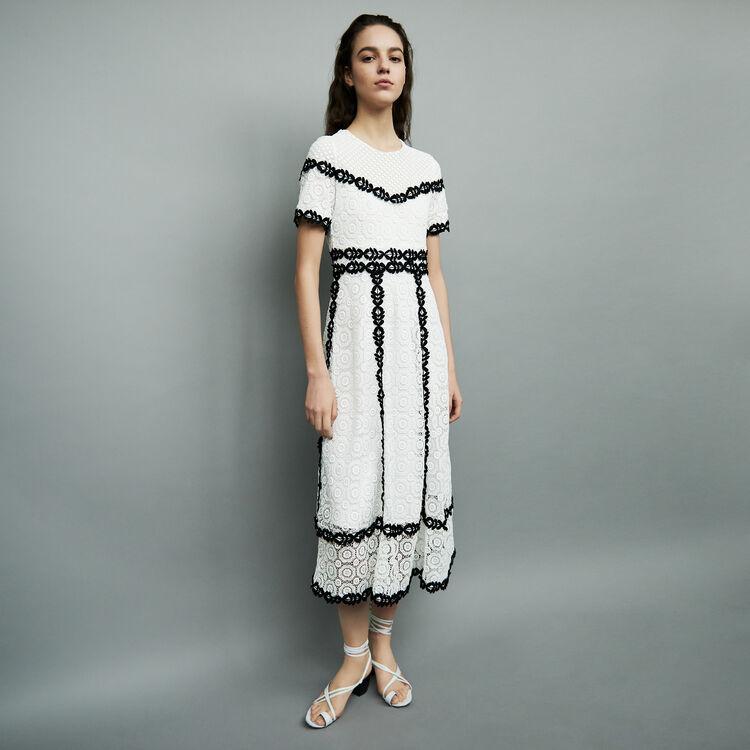 Robe longue en dentelle bicolore : Robes couleur Bicolore