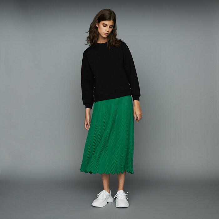 Jupe longue plissée à chevrons : Jupes & Shorts couleur VERT