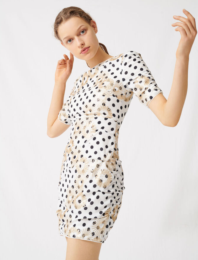 Polka dot and embroidered sequin dress - All the collection - MAJE