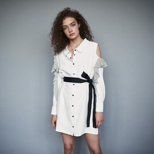 Striped ruffled shirt dress : Dresses color White / Black