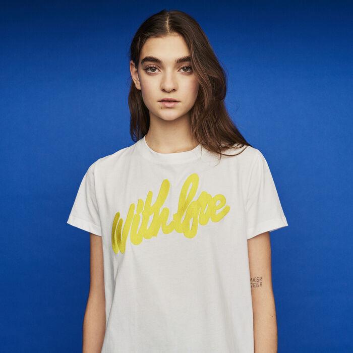 Tee-shirt à message brodé : T-Shirts couleur Blanc