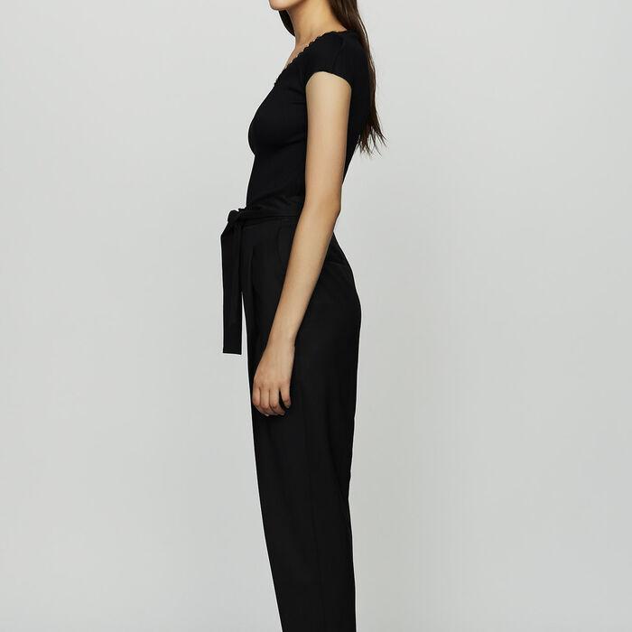 Pantalon à pinces en laine vierge : Nouvelle Collection couleur Black