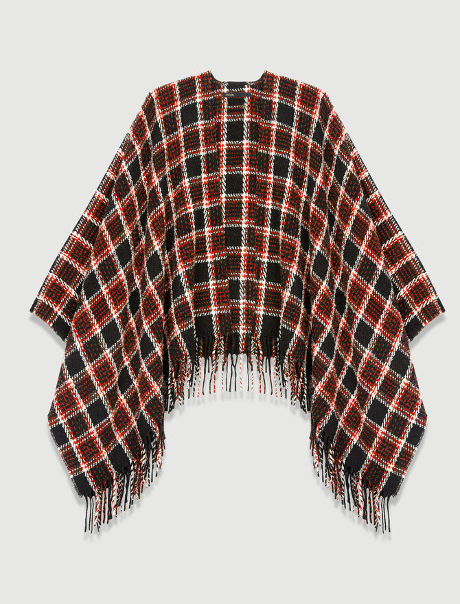 Checked poncho -  - MAJE