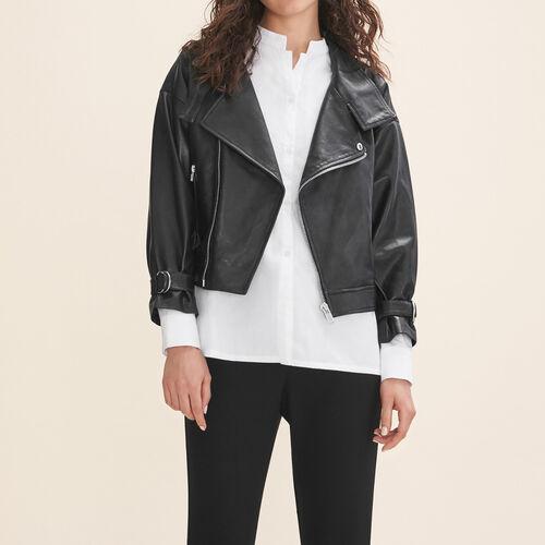 Blouson en cuir rétro : Vestes & Blousons couleur Black