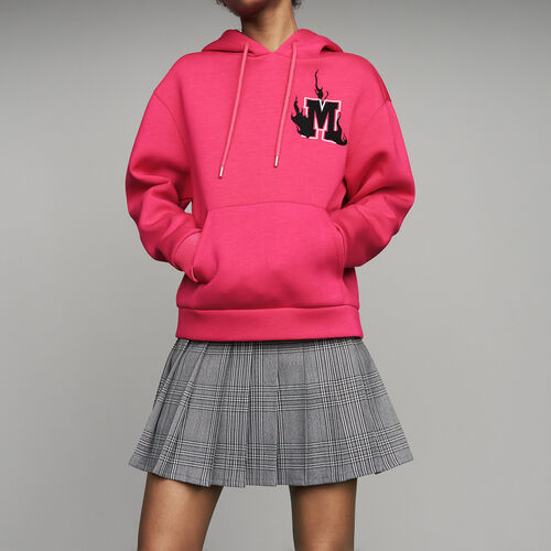 Sweat-shirt oversize à capuche : Sweats couleur Fushia