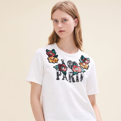 Basic printed T-shirt with sequins : T-shirts color Ecru