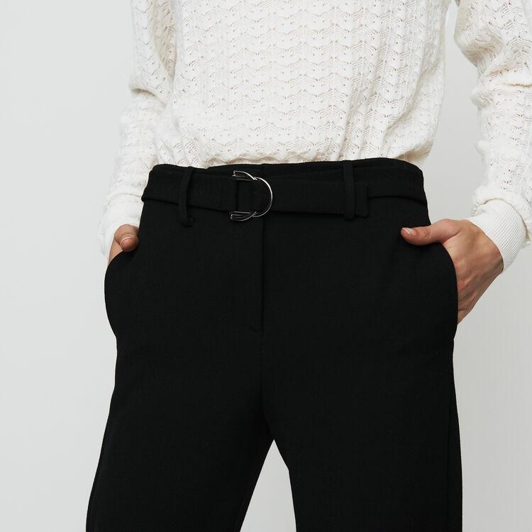 Pantalon droit en crêpe : Pantalons couleur Black
