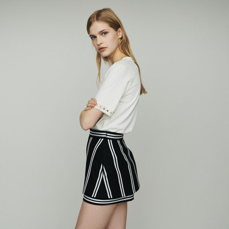 Trompe-l'oeil striped shorts : Skirts & Shorts color Stripe