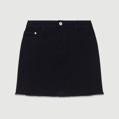 Jupe courte en jean : Jupes & Shorts couleur BLACK