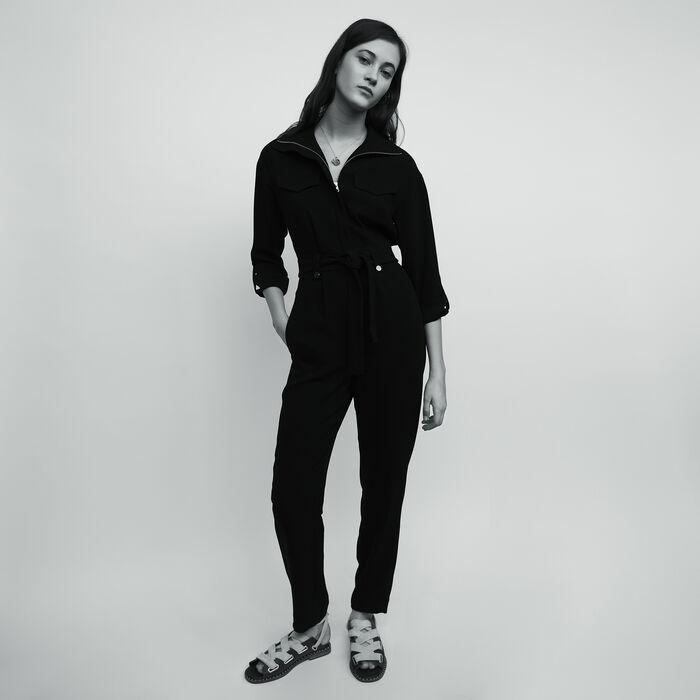 Combi-pantalon en crêpe : Prêt-à-porter couleur Black