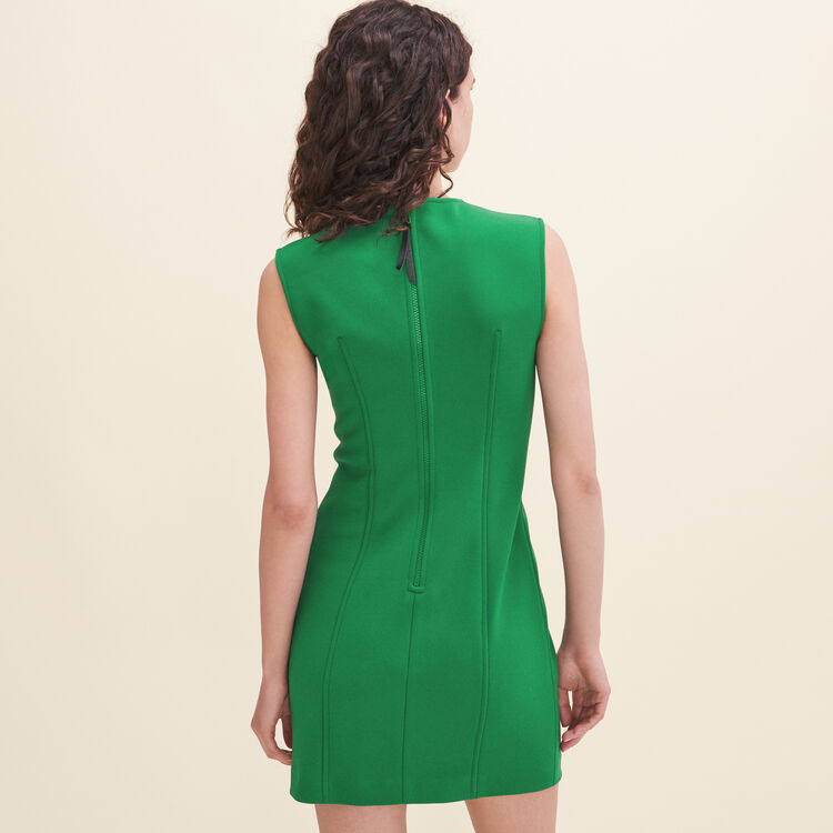Robe sans manches en crêpe : Robes couleur Vert