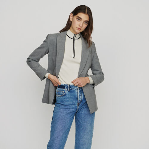 Long wool-blend blazer : Blazers color Grey