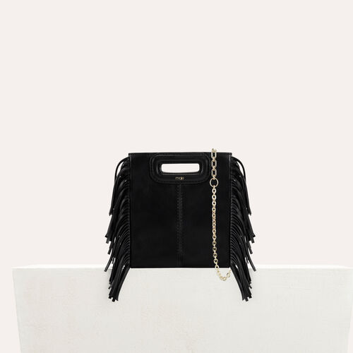 Fringed leather M mini bag with chain : M Mini color Black 210