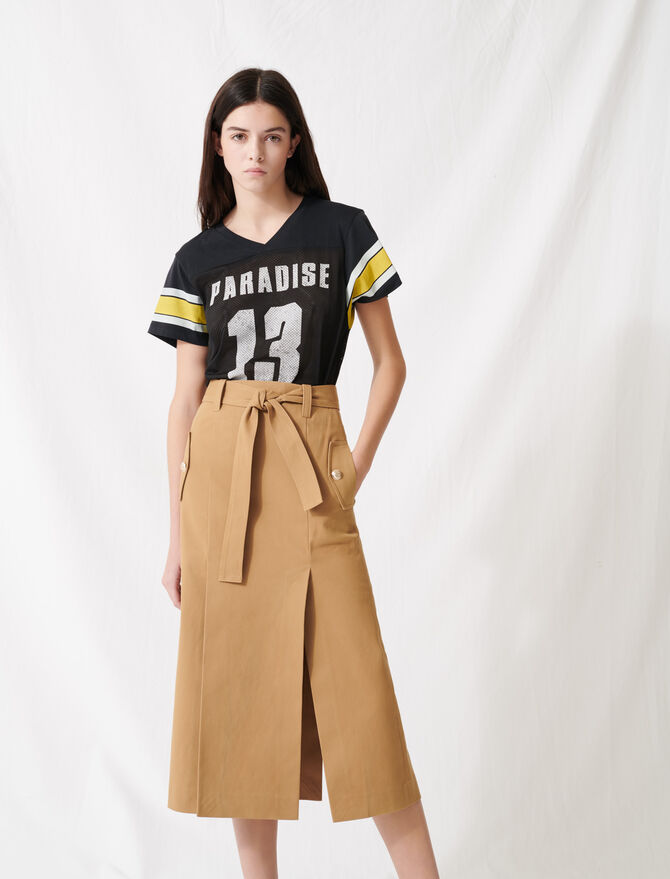 Camel skirt with inlaid belt - Skirts & Shorts - MAJE