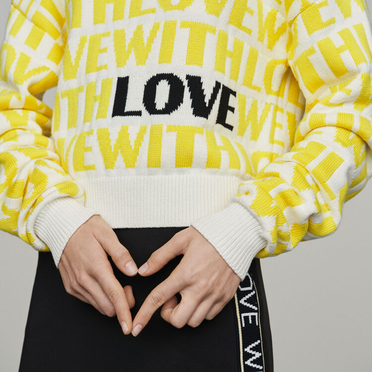 Jacquard sweater with slogan : Pullovers & Cardigans color Yellow
