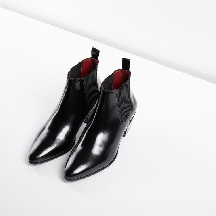 Bottines basses en cuir glacé : Accessoires couleur Black