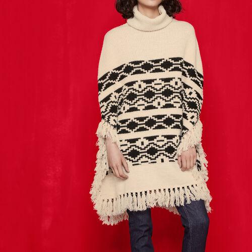 Poncho ethnique en maille jacquard : Pulls & Cardigans couleur Black