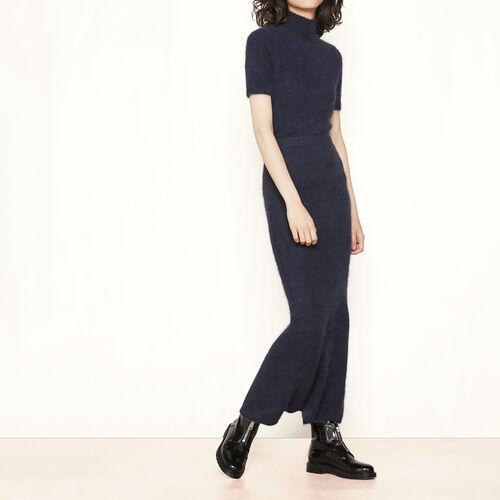 Jupe longue en angora : Jupes & Shorts couleur Marine