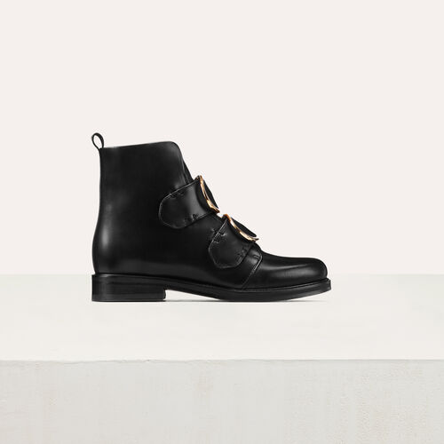 Leather ankle boots with double strap : Shoes color Black 210