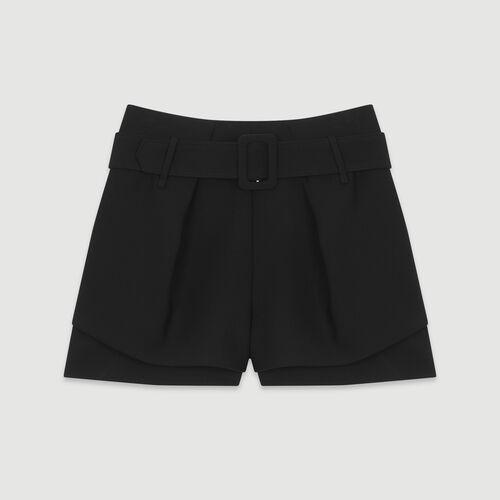 Short trompe l'oeil à pinces : Jupes & Shorts couleur BLACK