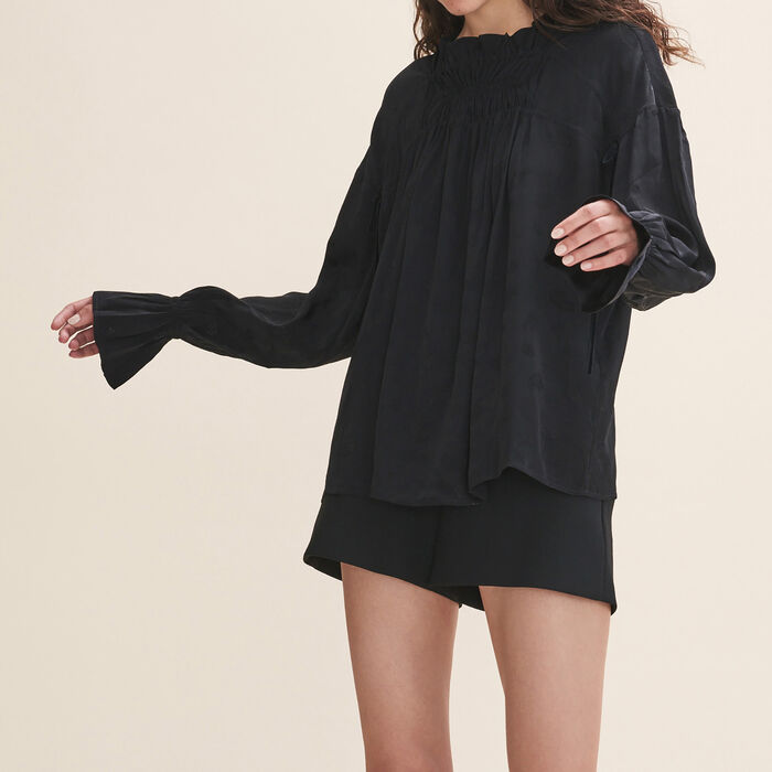 Top fluide froncé : Tops couleur Black