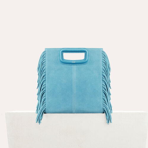 M bag in suede : Leather color Blue
