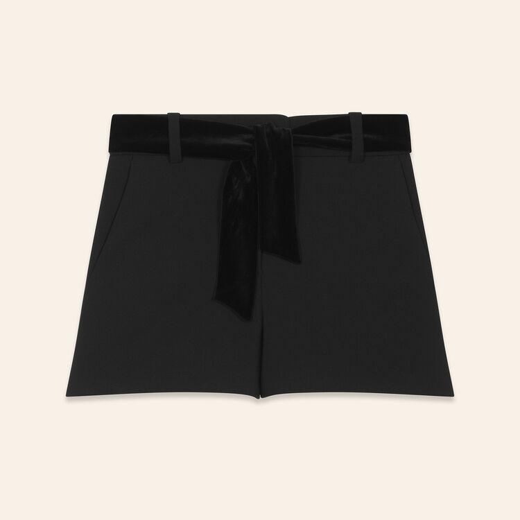 Short taille haute en crêpe : Catégories couleur Black