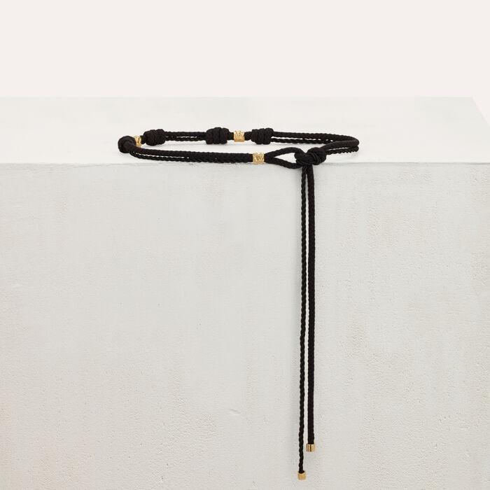 Ceinture corde avec studs martelés : Ceintures couleur BLACK
