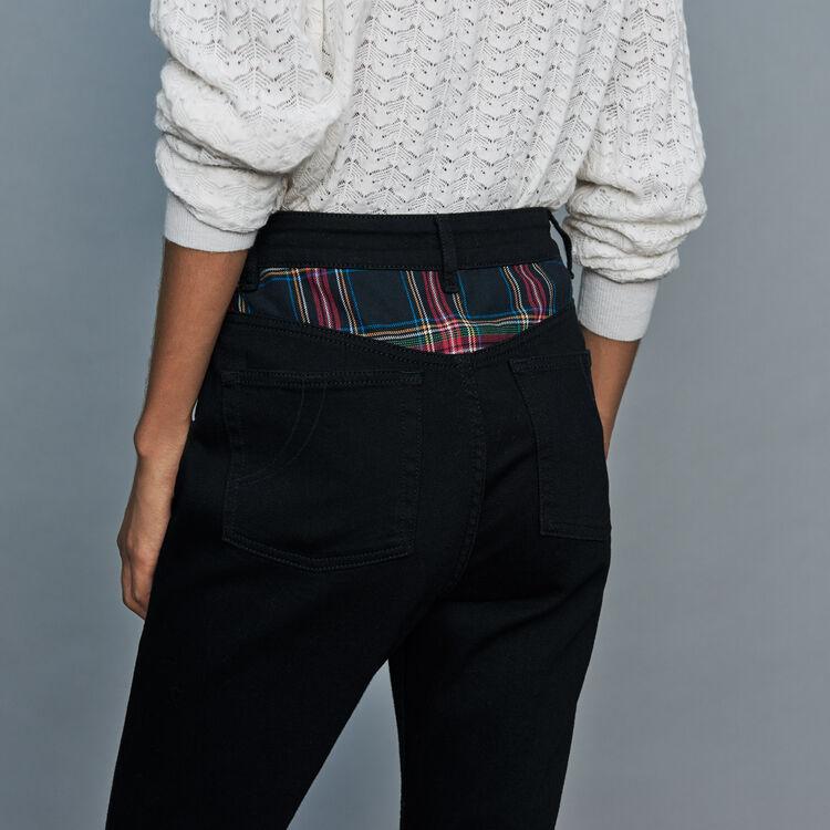 Jean droit avec détail tartan : Prêt-à-porter couleur Black
