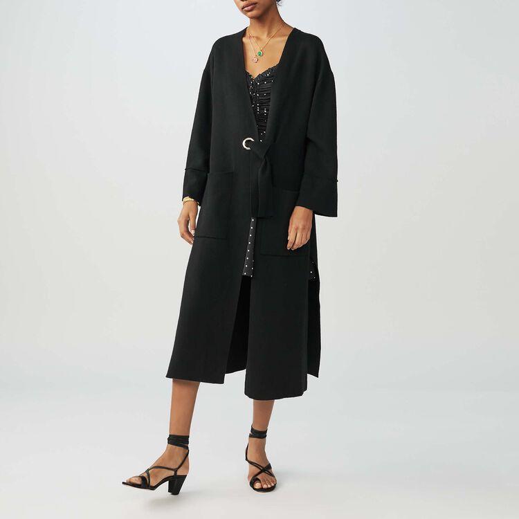 Long gilet avec ceinture : Maille couleur Black