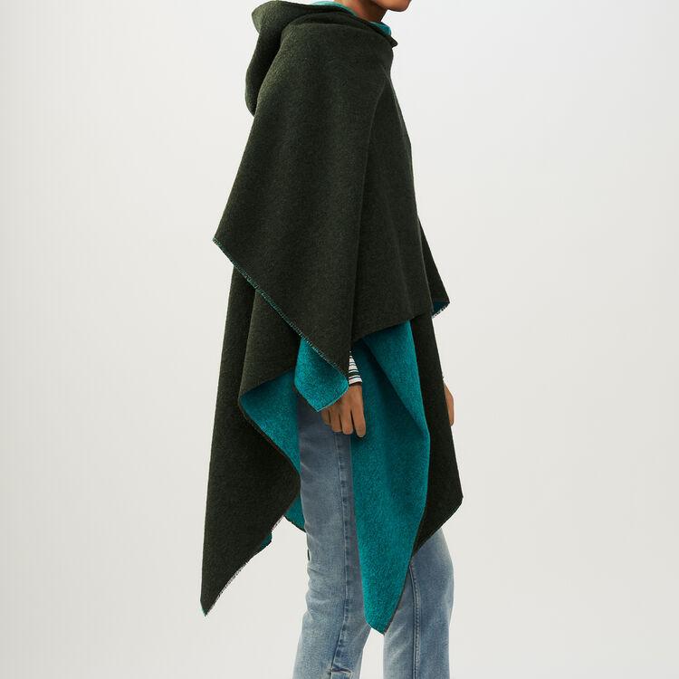 Poncho réversible à capuche : Echarpes & Foulards couleur KAKI