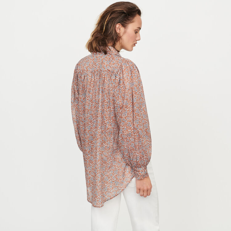 Printed- cotton voile shirt : Tops & Shirts color Terracota