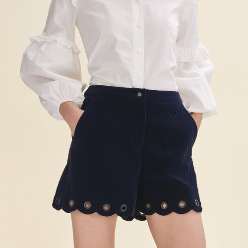 Short en velours matelassé : Jupes & Shorts couleur Marine