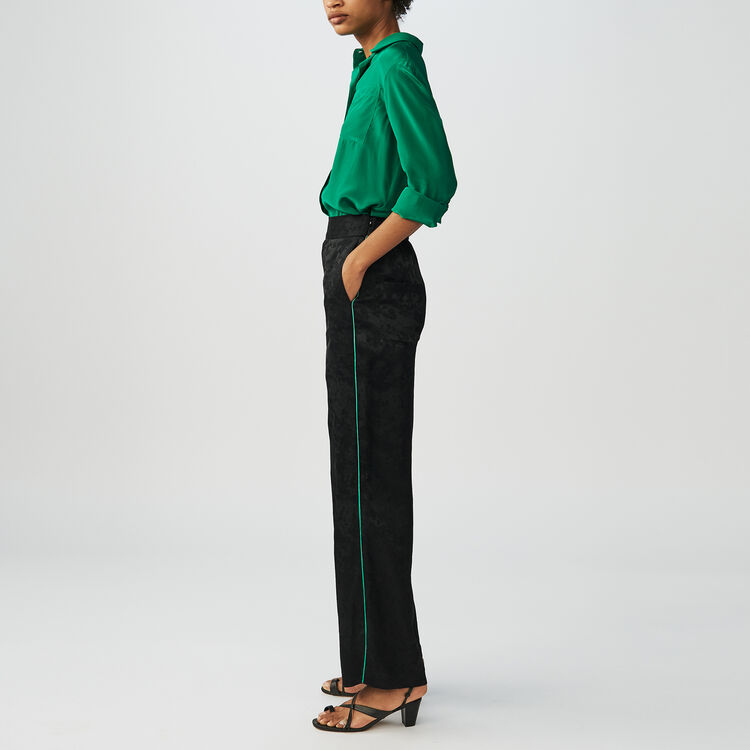Pantalon loose en jacquard : Pantalons couleur Black