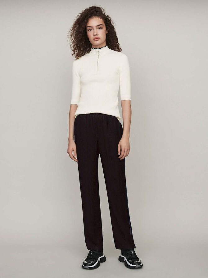 Pantalon fluide en jacquard satiné - Pantalons & Jeans - MAJE