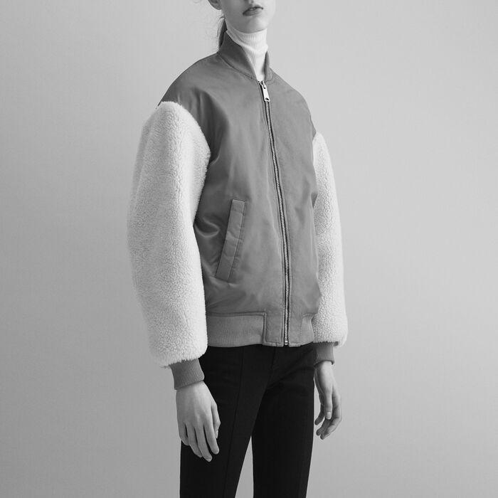 Blouson avec peau lainée : Blousons & Vestes couleur Caramel