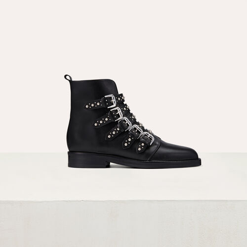 Bottines en cuir avec studs : Bottines couleur Black