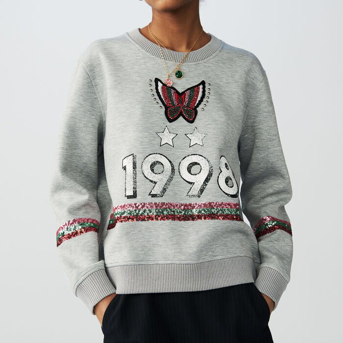 Sweat en coton avec sequins : T-Shirts couleur Gris
