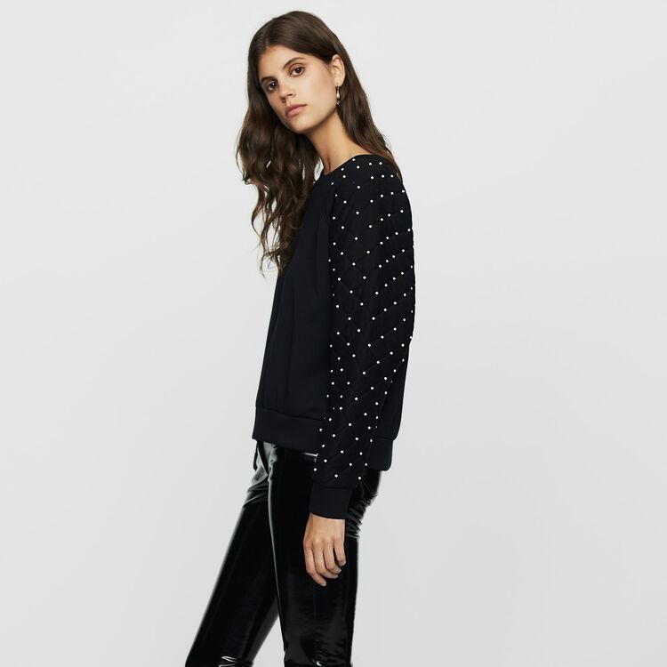 Sweat-shirt avec perles : Nouvelle Collection couleur Black
