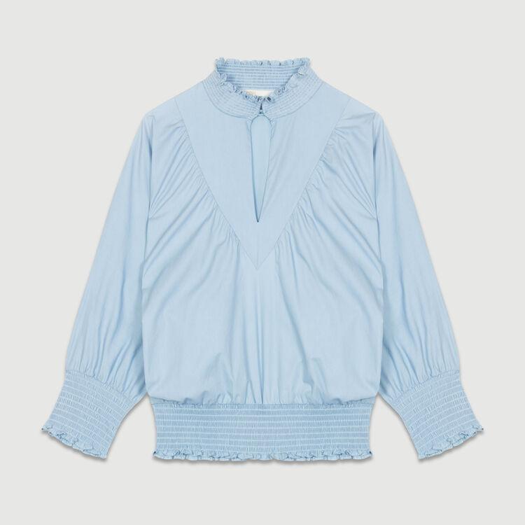 Blouse en popeline de coton avec smocks : Tops couleur Bleu