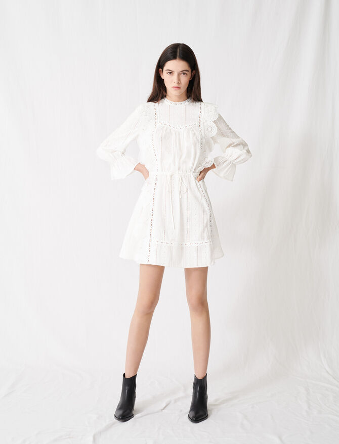 Robe blanche à broderies anglaises - Robes - MAJE