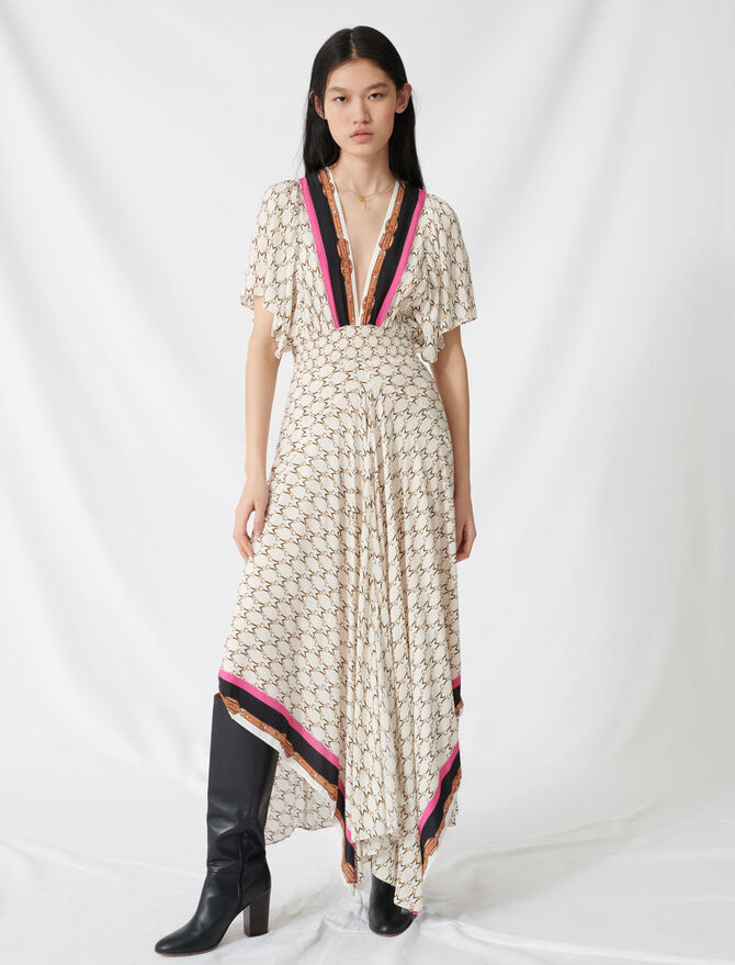 Muslin dress with scarf print - Dresses - MAJE