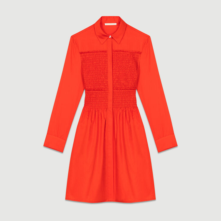 Robe-chemise avec smocks : Robes couleur Rouge