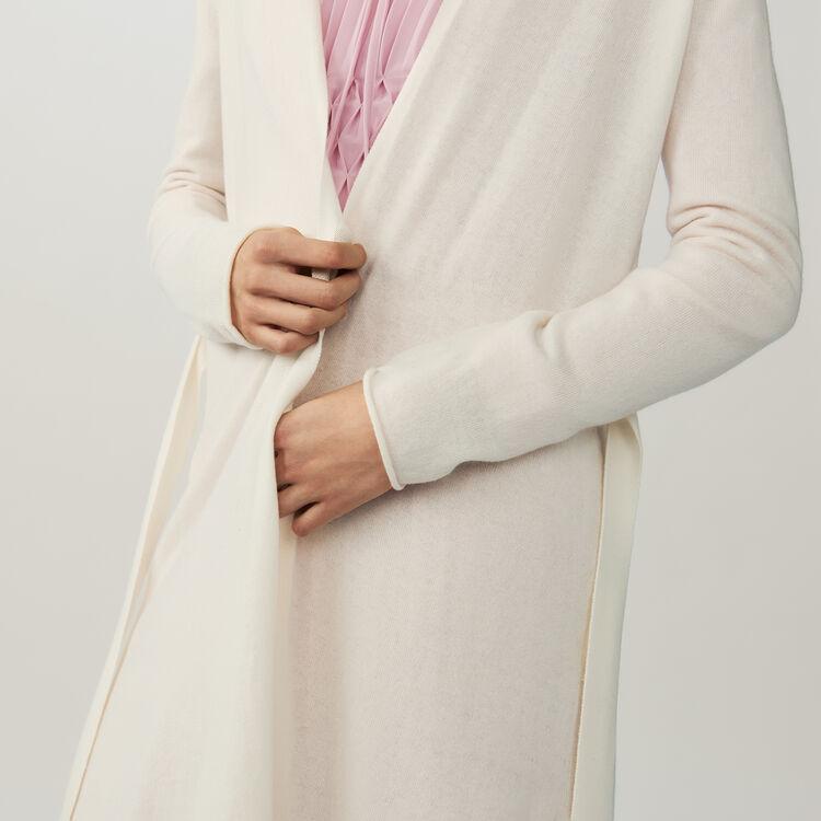 Long cardigan avec ceinture : Maille couleur ECRU