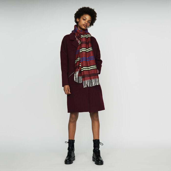 Echarpe à motif carreaux : Nouvelle Collection couleur BORDEAUX