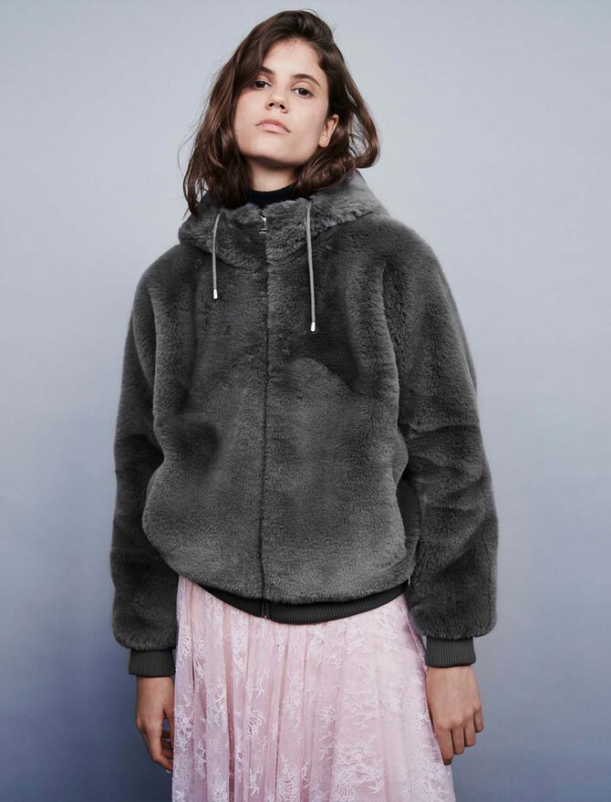Hooded faux fur jacket - Coats & Jackets - MAJE