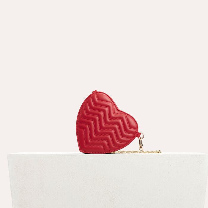 Besace cœur en cuir matelassé : Les Essentiels couleur Rouge