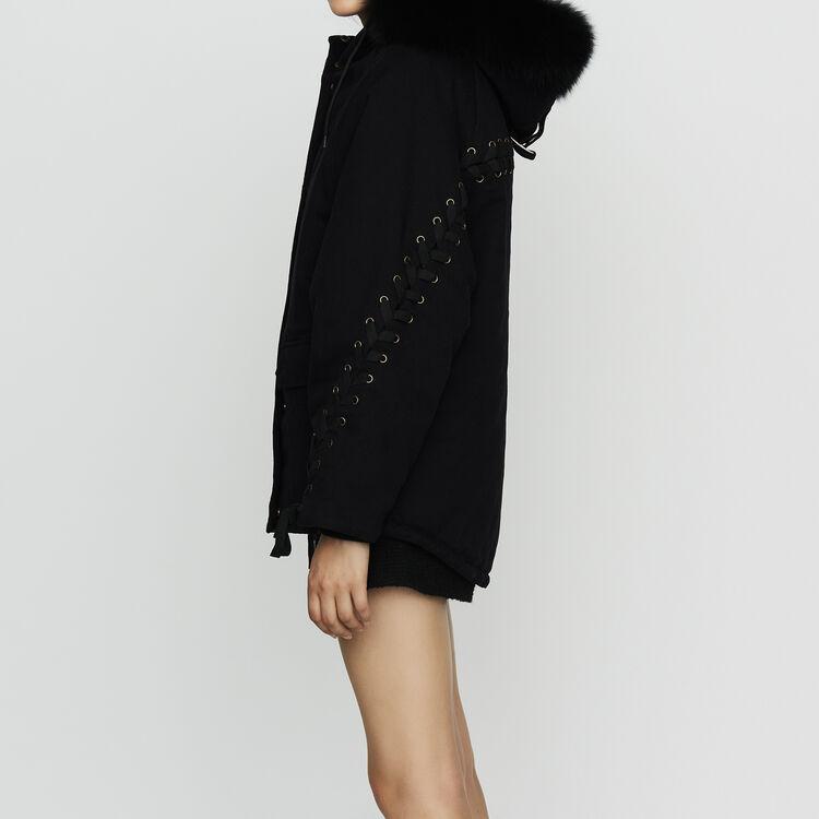 Parka à capuche avec laçage : Manteaux couleur Black