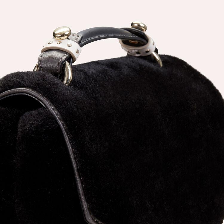 Sac evening en fausse fourrure et cuir : Sacs LDance couleur Black