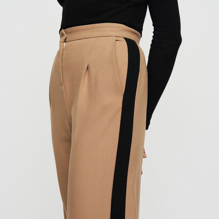 Pantalon à pinces et bandes contrastées : Pantalons couleur Camel
